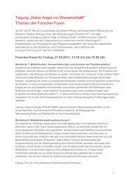 Forscher-Forum III Workshops und Praxisbeispiele - Stadt der ...