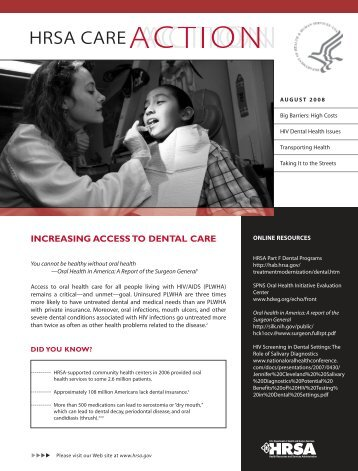 Increasing Access to Dental Care - HRSA HIV/AIDS Programs
