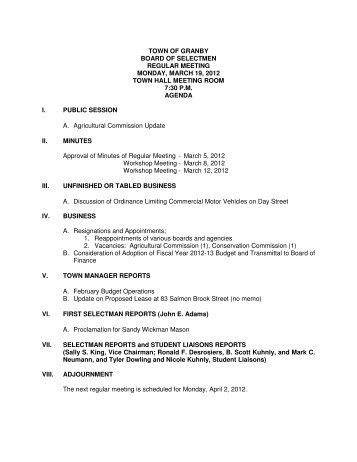 town of granby board of selectmen regular meeting monday, march ...
