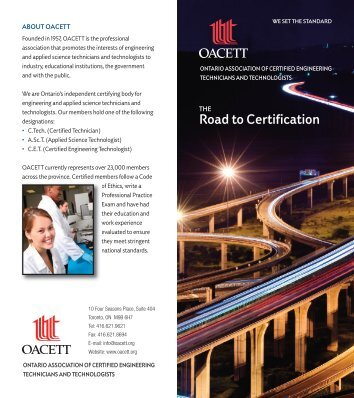 The Road to Certification - oacett