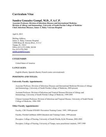 Dr. Gompf's CV - University of South Florida