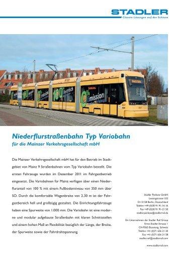 Niederflurstraßenbahn Typ Variobahn für die Mainzer ... - Stadler