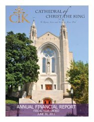 CTK 2010-2011 Annual Financial Report - Cathedral of Christ the King