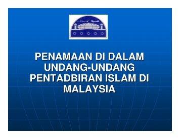 PENAMAAN DI DALAM UNDANG-UNDANG PENTADBIRAN ISLAM ...