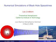 Numerical Simulations of Black Hole Spacetimes - TAPIR Group at ...