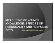 MEASURING CONSUMER KNOWLEDGE: EFFECTS OF ...