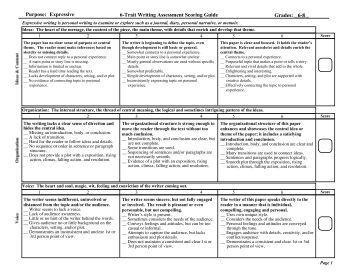 6 1 trait writing assessment tests
