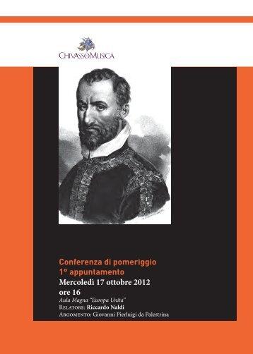 Conferenza di pomeriggio 1° appuntamento - Chivasso in Musica