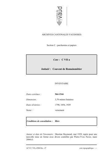 Copie de l'inventaire C VII a - Inventaires des Archives Cantonales ...
