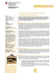 Sustainable Livelihoods through Livestock Development
