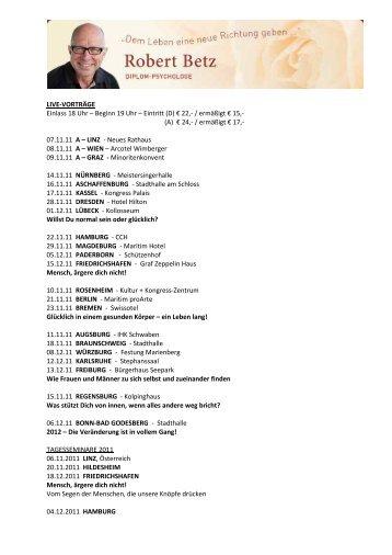 LIVE-VORTRÄGE Einlass 18 Uhr – Beginn 19 Uhr – Eintritt (D) € 22 ...