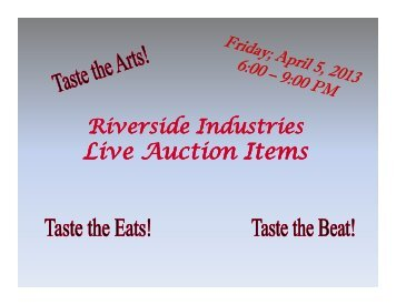 Live Auction Items - Riverside Industries