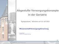 Abgestufte Versorgungskonzepte in der Geriatrie - MDK Bayern