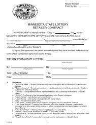 MINNESOTA STATE LOTTERY RETAILER CONTRACT