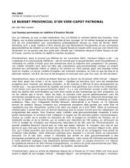 LE BUDGET PROVINCIAL D'UN VIRE-CAPOT PATRONAL