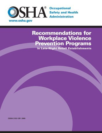 Recommendations for Workplace Violence Prevention ... - OSHA