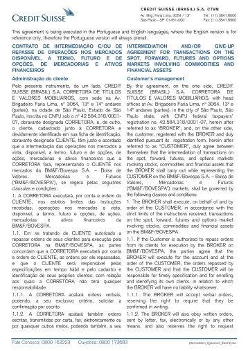 Intermediation Agreement (December/2010) - Credit Suisse