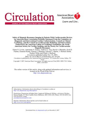 MRI: safety of cardiovascular devices - Society of Cardiovascular ...
