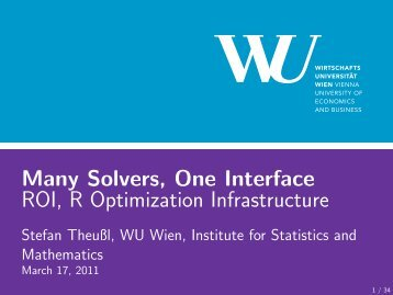 ROI - Institute for Statistics and Mathematics - Wirtschaftsuniversität ...