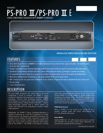 datasheet ps-pro ii ps-pro ii e - Furman Sound