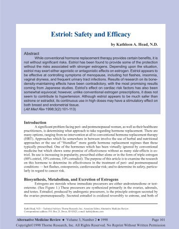 Estriol: Safety and Efficacy - Thorne Research