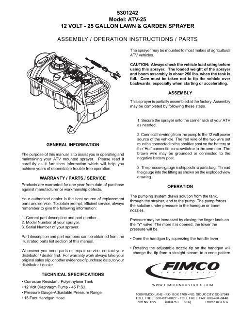 5301242 Model: ATV-25 12 VOLT - 25 GALLON     - FIMCO Industries
