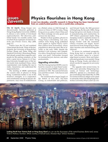 Physics flourishes in Hong Kong - Department of Physics - The ...