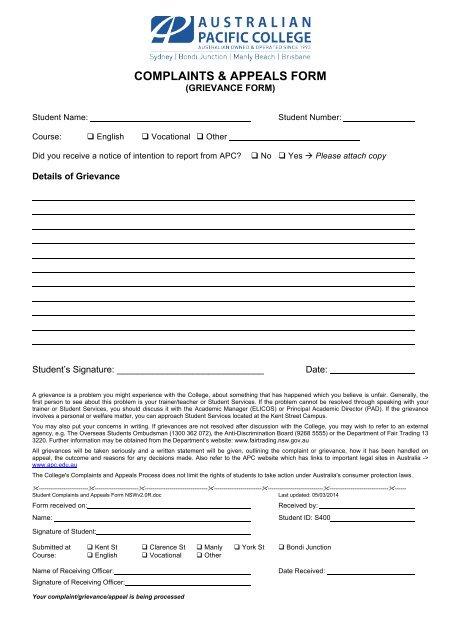 grievance form