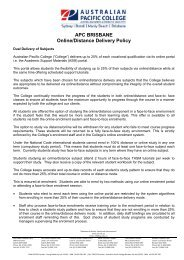 Online and Distance Delivery Policy - Australian Pacific College