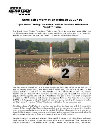 AeroTech Information Release 3/22/10