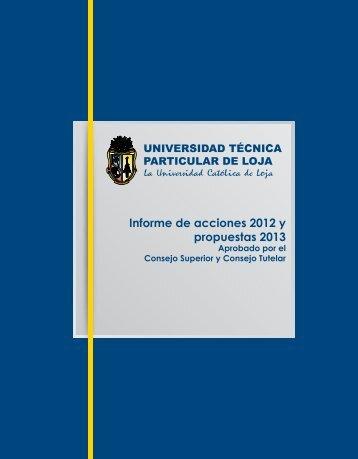 Informe de acciones 2012 y propuestas 2013 - Universidad Técnica ...