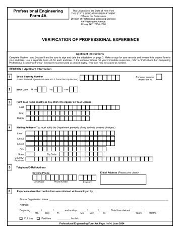 Verification of professional experience land surveyor form 4a form 4a verification of professional experience office of the yelopaper Gallery