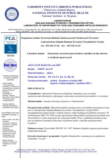 Badania biegłości - informacje szczegółowe - rok 2007 - Państwowy ...