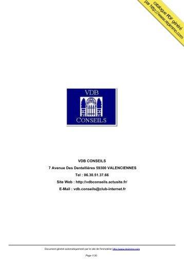 catalogue immobilier VDB CONSEILS ... - Site des Marques