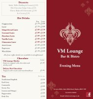 Download the VM Lounge Menu - UK Restaurant Menus