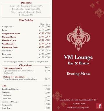 Download the VM Lounge Menu - UK Restaurant Menus