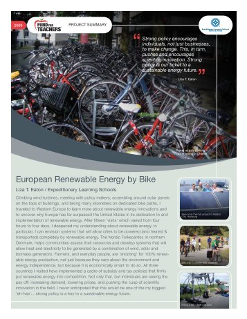 European Renewable Energy by Bike - Expeditionary Learning