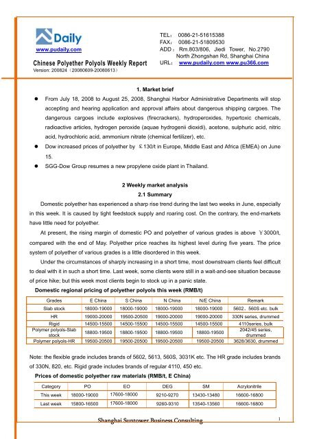 Chinese Polyether Polyols Weekly Report -Sample - Pudaily