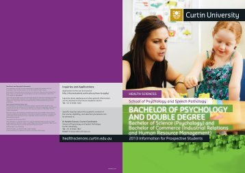 BACHElor of PSyCHoloGy AND DouBlE DEGrEE - Health Sciences ...
