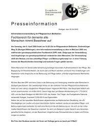 presse - information - Pflegezentrum Bethanien