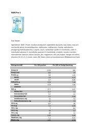 NAN Pro 1 näringsinformation