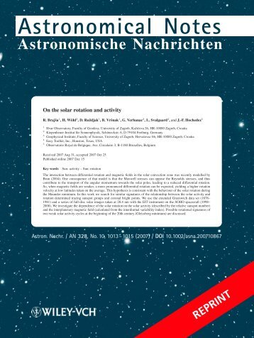 Astronomical Notes - Leif and Vera Svalgaard's