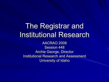 The Registrar and Institutional Research - AACRAO