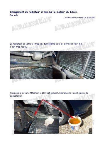 Changement du radiateur d'eau sur le moteur 2L 137cv.