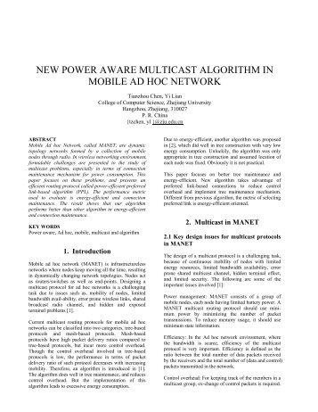 new power aware multicast algorithm in mobile ad hoc network