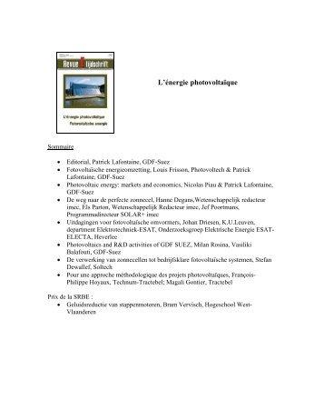 L'énergie photovoltaïque - KBVE