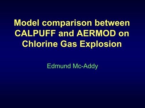 Model comparison between CALPUFF and AERMOD on Chlorine