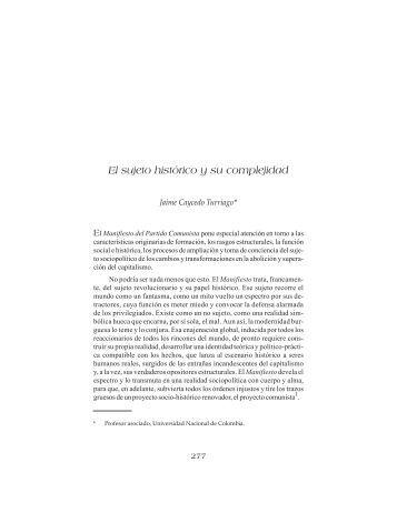 """EL SUJETO HISTÃ""""RICO Y SU COMPLEJIDAD Jaime Caycedo ..."""
