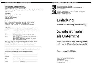 Einladung Schule ist mehr als Unterricht - Fachverband Deutsch