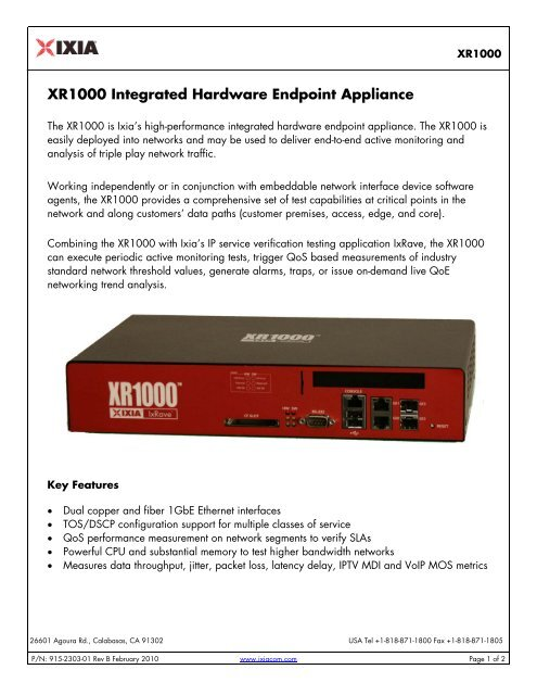 XR1000 Integrated Hardware Endpoint Appliance - Ixia